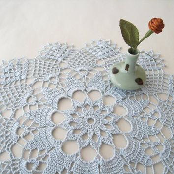Crochet Doily Lace Cornflower Blue Wedding Decorations Flower Pattern Tablecloth Table Centerpiece Shabby Chic Home Decor Bridal Shower Gift
