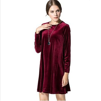 2016 New Celebrity Loose A-line O-neck Long Sleeve Dress High Quality Gold Velvet Ladies Casual Dress for Winter Women
