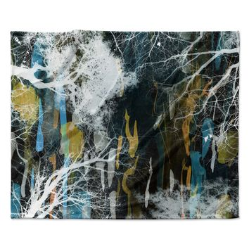 "Iris Lehnhardt ""Tree Of Life"" Abstract Blue Fleece Throw Blanket"