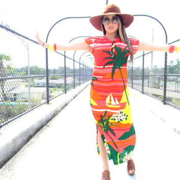 Vintage 70s Graphic Palm Trees and Hawaiian Sunset Sun Dress in Terrycloth Stretch Knit - Psychedelic Summer Dress - Hawaiia Sundress M