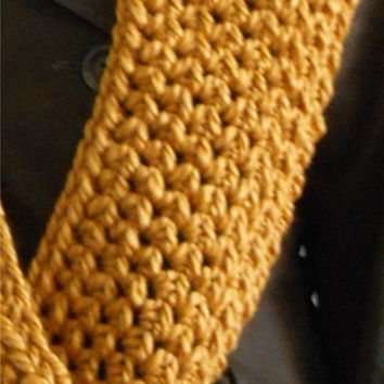 CHUNKY INFINITY Scarf Cowl Loop Scarf Super Soft Knit Wool Infiniti Scarf Mustard Gold Hand Made in USA Crochet Loop Golden