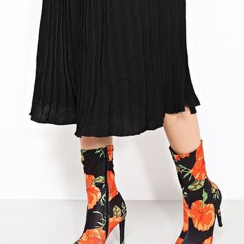 Mixed Print Black Ankle Boots
