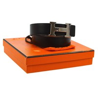 Auth HERMES H Logos Buckle Belt Constance Reversible Black Box Calf VTG 804282