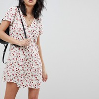 Honey Punch Wrap Dress In All Over Ditsy Rose Print at asos.com