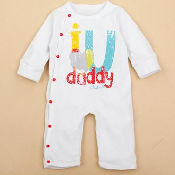 I Love U Daddy Mummy Infant Baby Overall Jumpsuit