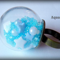 Aqua Love Glass Globe Ring - Bronze adjustable band