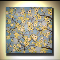Original Fine Art, Modern Artwork, Textured White, Yellow, Blossom Flowers, Abstract Landscape, Ready to Hang 24x24 Acrylic Painting