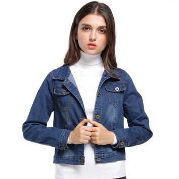 Women's Denim Jacket Long Sleeve Short Jeans Jacket Cotton Light Washed Blue Jeans Outwear