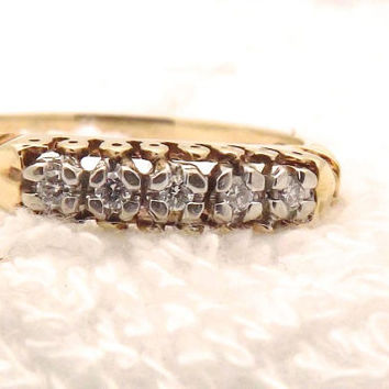 Vintage Diamond Wedding Anniversary Ring/ 14K Yellow Gold