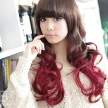 X&Y ANGEL- New Two Tones Kanekalon Long Wavy Sexy Stylish Heat Resistant Synthetic Hair Wig 2 Color Mixed K019-2 (Black Mixed Wine Red)