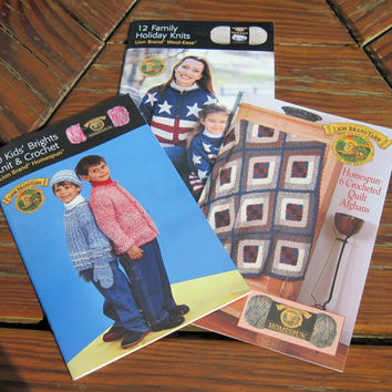 ON SALE Knitting Pattern Pamphlet, Booklet, Lion Brand Wool-Ease, Homespun, Adult, Children Clothing, Afghans, Knit and Crochet, choose 1