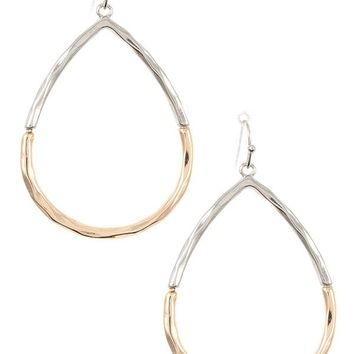 Hammerd two tone teardrop dangle earring