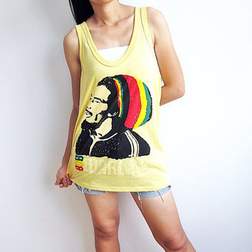 BOB MARLEY Tank Top T-Shirt Yellow Women Tops T Shirt Womens Size M