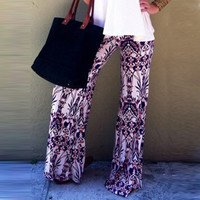 Abstract Print Wide Waist Loose Yoga Pants