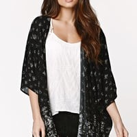 LA Hearts Border Design Kimono - Womens Shirts - Black - One