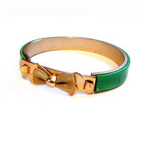 Vintage Green Leather, Gold Mesh Bow Bangle Bracelet