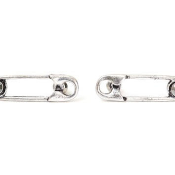 Safety Pin Stud Earrings Crystal Silver Tone EE38 Posts Punk Statement Fashion Jewelry