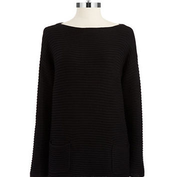 Vince Camuto Petite Ribbed Patch Pocket Tunic Top