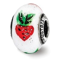 Sterling Silver Strawberry Murrano Glass Bead
