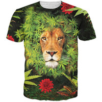 Weed Flowers Lion T-Shirt