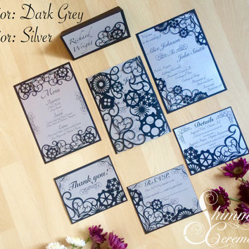Steampunk wedding invitation suite gears and hearts place cards RSVP menus programs  thank you and details