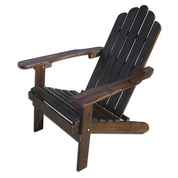 Dark Brown Wood Outdoor Patio Adirondack Chair with Armrests