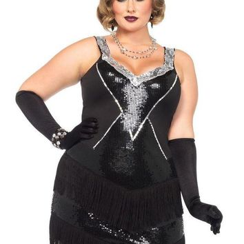 LMFH3W 2PC.Glamour Flapper,sequin and fringe dress,headband 1X-2X BLACK/SILVER