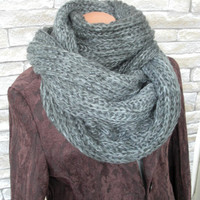 Men's Scarf, Chunky Scarf, Gray Charcoal Gray Variegeted Knitted Scarf Winter Fashion Accessories Valentine's Day READY TO SHIP