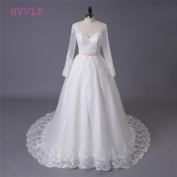 Boho Vestido De Noiva 2018 Muslim Wedding Dresses Ball Gown V-neck Long Sleeves Lace Pearls Cheap Wedding Gown Bridal Dresses