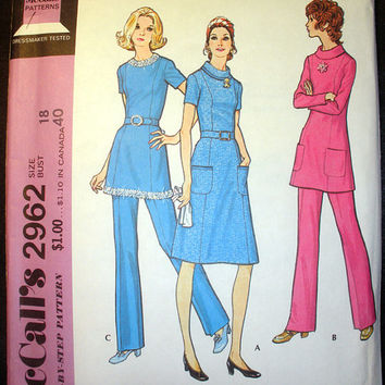 Vintage 1970's Women's Dress or Tunic and Pants Misses' Size 18 McCall's 2962 Sewing Pattern Uncut