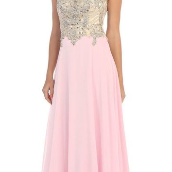 Starbox USA L6098 Light Pink Illusion Bateau Neck Chiffon Jeweled Bodice Cap Sleeves Prom Dress