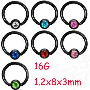 ac DCCKO2Q 2Piece Stainless Steel Black Captive Hoop CBR Eyebrow BCR Tragus Earrings Nose Closure Ring Body Piercings Jewelry Helix