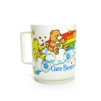 Care Bears Cup Vintage 1980's Plastic Deka Mug with Funshine, Friend, Grumpy and Cheer Bear