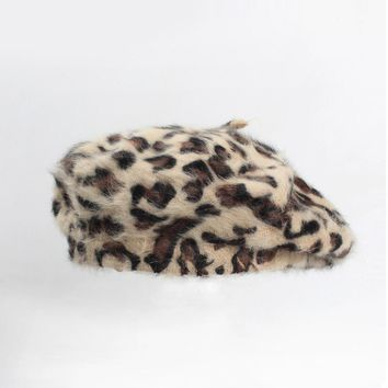 Leopard Printed Women's Winter Beret Rabbit Fur French Berets Fashion Warm Ladies Artist Hats Top Quality 985009