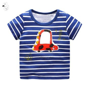 BINIDUCKLING Children T-shirt Boys t shirt Short Sleeves Tees Summer Kids Tops Dinosaur printed Baby Boy Clothing Cotton fireman