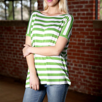 Piko striped short sleeve top - green