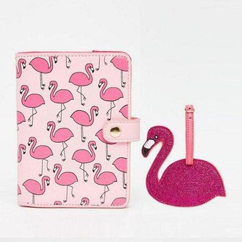 CREYCI7 1 Set Shiny Pink Red Flamingo Bird Passport Holder Storage Womens Documents Folder Bag Mini wallet tag Travel Accessories Gift