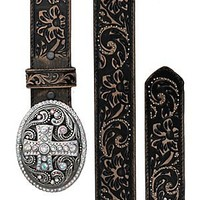 Justin® Women's Vintage Black Tooled Leather w/ Crystal Cross Buckle Western Belt
