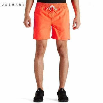 2016 Summer New Polyester Shorts Homme U&Shark Brand Men Fashion Orange Short Pants Hawaiian Quick Dry Casual Beach Shorts Male