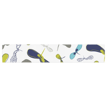 """Laurie Baars """"Mapleseeds Turquoise"""" Blue Yellow Table Runner"""