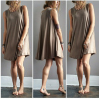 A Potato Sack Dress in Olive