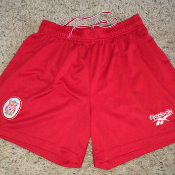 Sale!! Vintage 1990's Reebok Liverpool FC Home Soccer Shorts LFC Football Jersey Shirt Free US Shipping