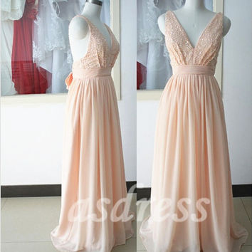 New Champagne Sequin Prom Dress, Sexy Evening Gown Deep V neck, A-line Evening Dress Sequin Sparkly Bridesmaid pearl pink bridesmaid dresses