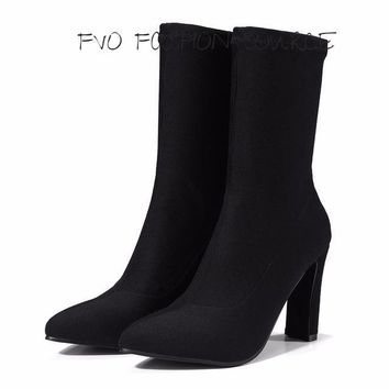 Sexy Stretch Fabric Booties!! Chunky High Heel Slip On Ankle Boots !!!
