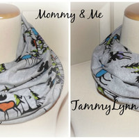 Ready to Ship!! Mommy and Me Moose Mania Heather Gray Trees Winter Mountains Fun Trendy Infinity Scarf Cotton Jersey Knit Double Loop