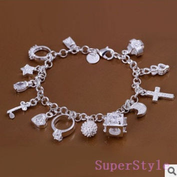 SILVER PLATED 13 CHARMS BRACELET, chain bracelet , cute , cuff bracelet, fashion jewelry , great gift for girls = 1945741316
