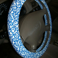 Imperial Blue Scroll Steeering Wheel Cover