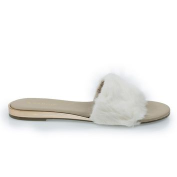 Interest14M Ivory By Bamboo, Faux Marabou Fur Slide Flip Flop Sandal w Metal Wedge