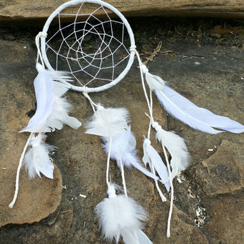 5 inch Dream Catcher, Handmade Small White Dreamcatcher, White Feathers Wall Hanging, Bedroom Decor, Traditional Native American Decor
