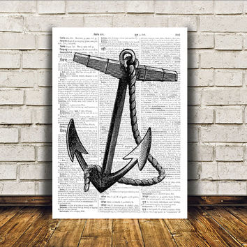 Nautical art Anchor poster Beach house decor Marine print RTA37
